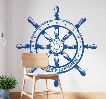 A wall sticker with a detailed drawing of a ships helm in natural colours.