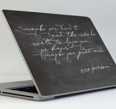 Original laptop skin made with a slate material for you to scribble down your notes in chalk. Use this chalkboard laptop sticker to make your device stand out visually while giving it an extremely practical feature at the same time.