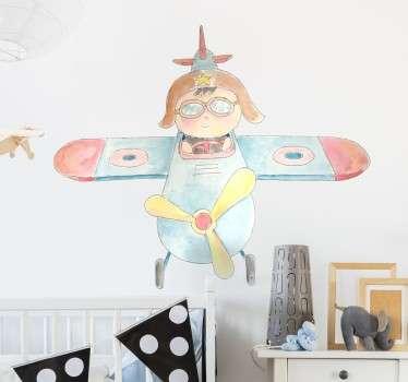 Sticker décoratif représentant un petit enfant pilote d'avion. Idéal pour la décoration de chambre d'enfant ou espace de jeux.