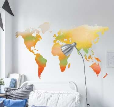 Watercolour World Map Sticker