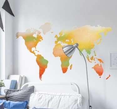 акварель карта мира наклейка