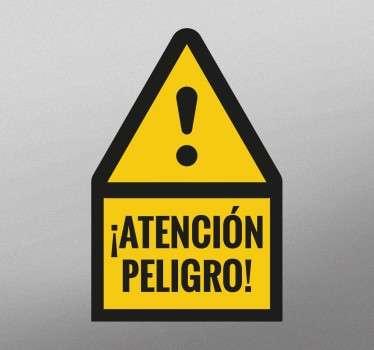 Pegatina atención peligro para señalizar