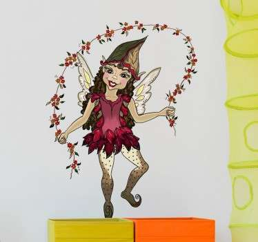A sweet sticker with a detailed illustration of a pixie elf jumping over a rope made of flowers.