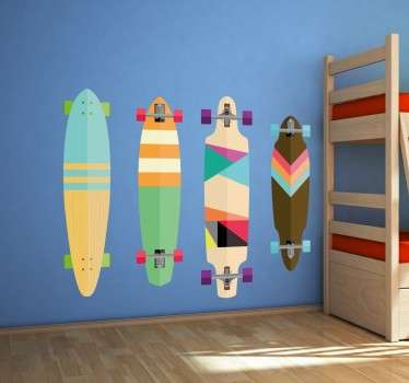 A skateboard wall sticker with a series of colourful skateboards, ideal for fans of this popular urban sport. Vibrant design that is sure to bring some colour to the walls of any teenager's bedroom.