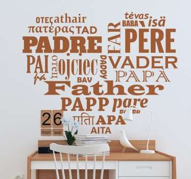"Heart shaped wall sticker filled with the word ""father"" in various languages."