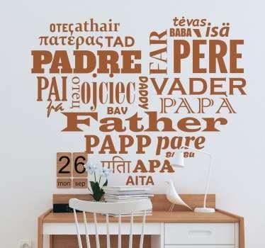 Sticker mural père différentes langues