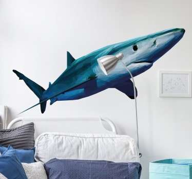 A spectacular design of a fearsome shark to decorate the room of shark fans. The cool shark decal is formed from a series of geometric shapes.