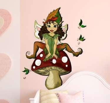 Elfin auf Fliegenpilz Wandtattoo