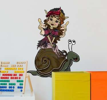 Children's sticker with an original illustration of a cute pixie girl riding on the back of a snail.
