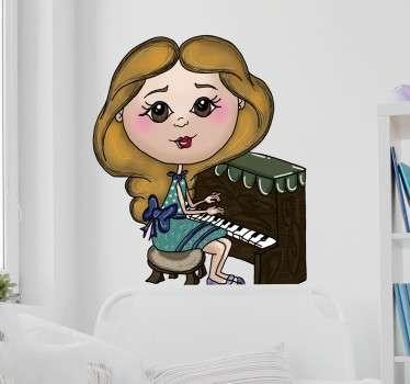 Naklejka na ścianę dziewczynka pianistka