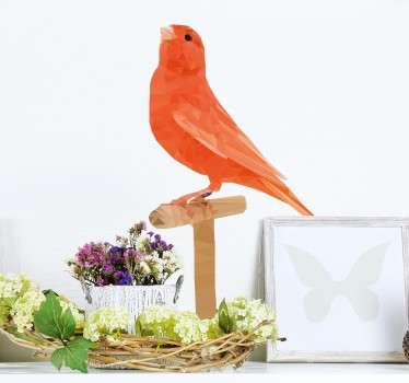 A beautiful sticker of a bird in warm orange tones, perched gracefully on a wooden stick.