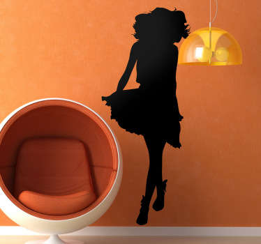 An original decal illustrating the silhouette of a young lady showing of her dress. You can use this wall sticker to decorate any smooth surface!
