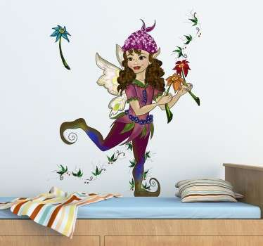 A sticker with an original illustration of a pixie girl dressed in a beautiful costume, posing with some flowers.