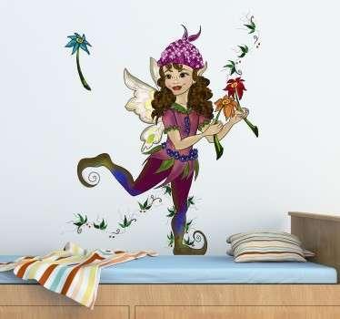 Naklejka na ścianę elf z kwiatami