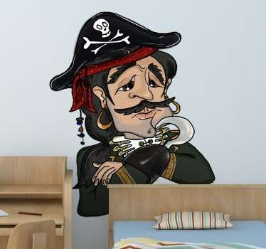 Children's sticker with an original illustration of a pirate captain who seems upset or disheartened.