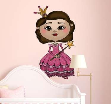 Decorative sticker for young girls, with an original illustration of a cute princess with an elegant pink dress.