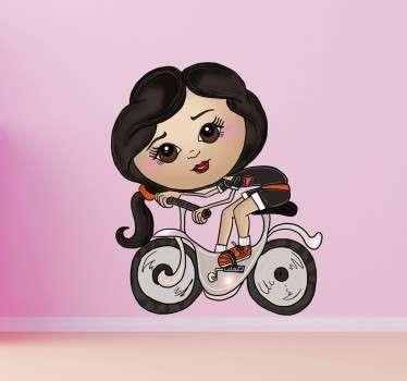 Adesivo bambini ragazzina in bicicletta