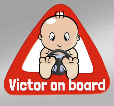 A customisable cartoon sticker to place in your car to show other drivers that you have a baby on board.