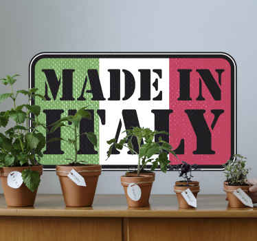 Location them wall decal design of Italy flag. This country flag wall decal is featured with text ''made in Italy''.It is available in any size.