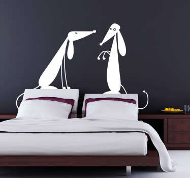 Wall Stickers - Illustration of two friendly dogs. Ideal for decorating any room. Available in various colours and sizes.