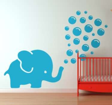 Cute kids wall sticker with an original drawing of a blue elephant blowing bubbles. This lovely cartoon wall sticker is available in any colour and size you could want and is perfect for decorating any child's bedroom or nursery for babies.