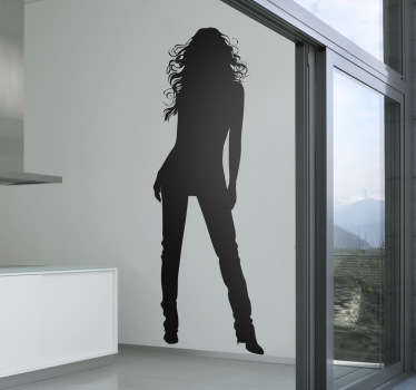 Room Stickers - Elegant sexy design of a silhouette of a young woman with long hair and legs. Ideal for decorating your home or business.