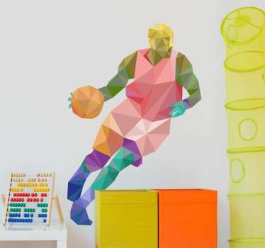 A creative and colourful geometric design of a basketball in action.