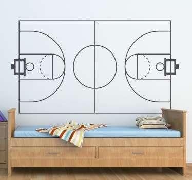 Basketbalveld Silhouet Muursticker