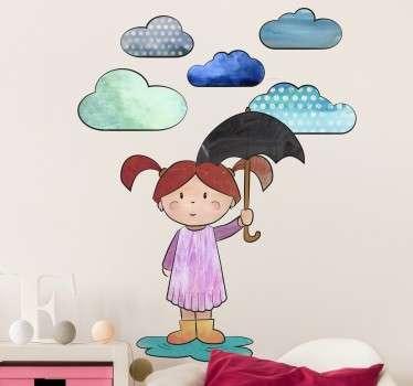Sticker fillette sous un parapluie