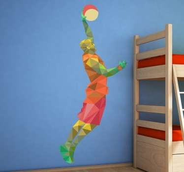 Geometrische Basketbalspeler Muursticker