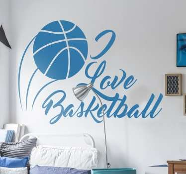 A sports wall decal with a drawing of a basketball and the text 'I Love Basketball' in cursive lettering for true lovers of the sport. Perfect for decorating a child's bedroom or sports area.