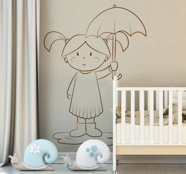 An original illustration of a sweet little girl standing in a puddle and holding an umbrella.