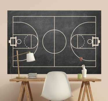 Krijtbord Muursticker Basketbalveld