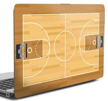 Sticker for customizing your laptop or tablet with a recreation of a basketball court.