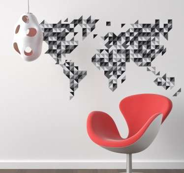 World map sticker formed by triangular and grey scale parts.