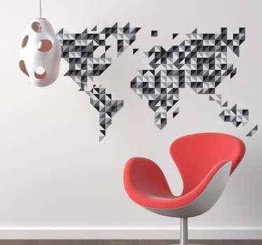 Vinil decorativo mapa mundo cinzento geométrico