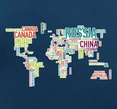 A world map wall sticker made up of the country names in bright and colourful text with a white background. A modern design that is great for people who love to travel to decorate their walls in a way that is suited to them.
