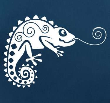 A fun sticker of a beautifully patterned chameleon sticking out his curled tongue.