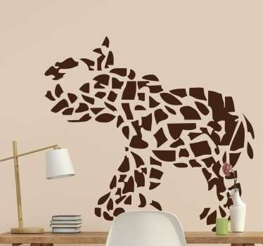 Vinilo decorativo de un elefante creado a través de un mosaico de diferentes piezas en el que se intuye esta figura y que está llevando la trompa a la cabeza.