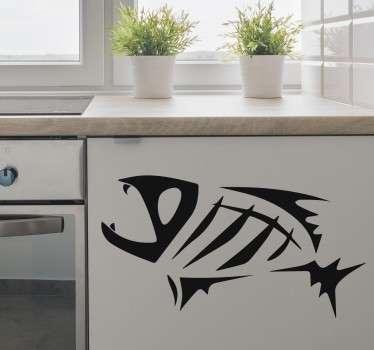 Adhesivo decorativo de un pez con el que decorar las paredes o los muebles de tu hogar. Concretamente la espina de un pez que ya se han comido.