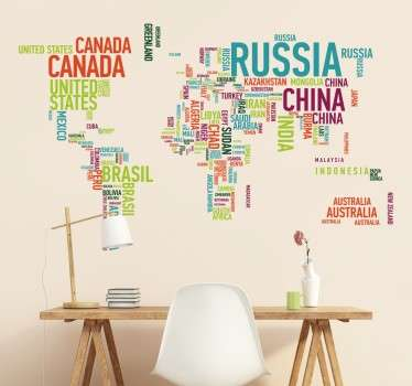 A world map sticker made up of the countries written in bright and colourful text.
