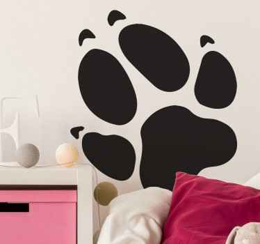 Een grote muursticker die de voetafdruk van een hondenpoot illustreert! Bent u een grote hondenliefhebber? Dan is deze sticker perfect voor u!