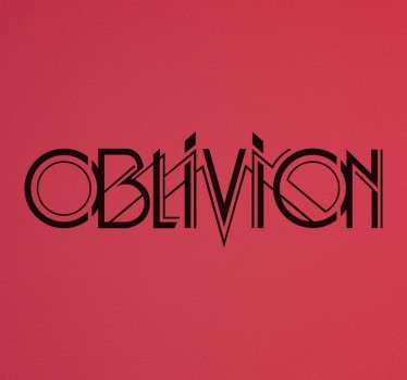 "A text sticker with the word ""oblivion"" a symbol that means ""forgetting"". A recognised title of a multitude of series, movies and video games."