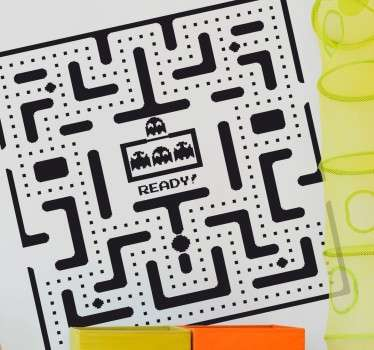 Autocolante labirinto pacman monocromático