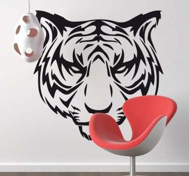 Scowling Tiger Sticker