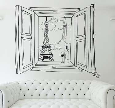 Bonito vinilo decorativo de una ventana abierta con una imagen de París al fondo junto a una botella de vino y la copa en la repisa de la ventana.