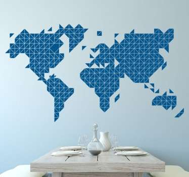 Vinyl sticker of a world map created through geometric triangles that will be great on the wall of your home or business.