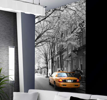 Photo Mural - A shot of a New York street capturing a yellow taxi. Ideal for those with a love for the Big Apple.