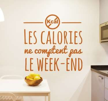 Sticker texte calories