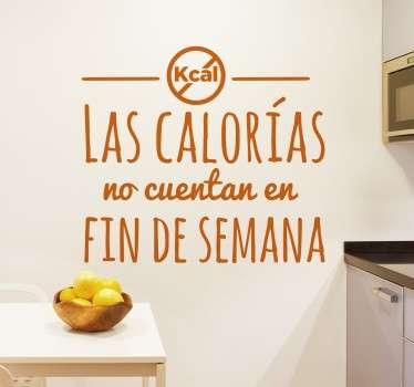 Vinilo texto cocina sobre las calorías